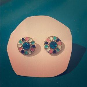 Jewelry - Art Deco Multi-Colored Stud Earrings